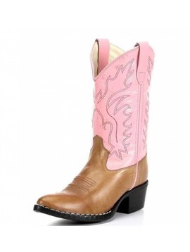 Jama Kids J Toe Brown/Pink Western Boot 8139