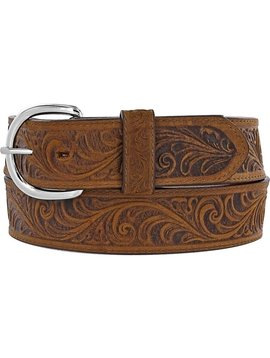 Leegin Men's Western Scroll Tooled Belt Bark 53909