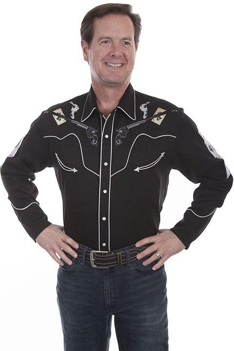 Scully Men's  Retro Gun Long Sleeve Shirt P-864