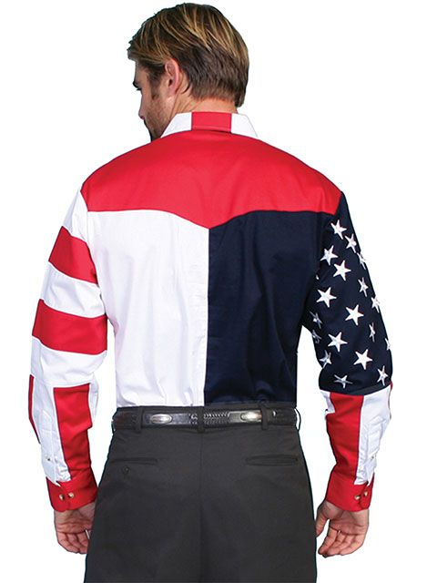 Scully Mens Red White and Blue Long Sleeve Shirt RW029