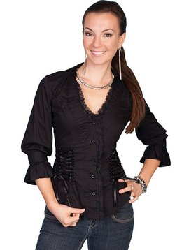 Scully Ladies Lace Up 3/4 Sleeve Shirt PSL-048