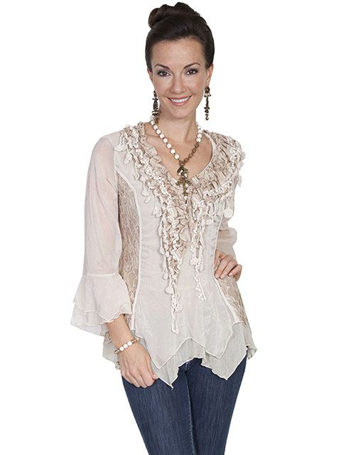 Scully Ladies Lacey Fringe Top HC179