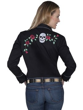 Scully Ladies Skull and Rose Retro Long Sleeve Shirt PL-771