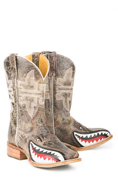 "Tin Haul 14-020-0007-0002TA  Men's ""Gnarly Shark"" Boot"