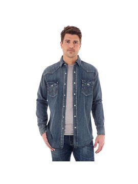 Wrangler MS1039W Antique Blue Denim Stretch Long Sleeve Shirt
