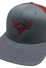 Richardson LOGO Snapbacks Heather Grey/ Red Mesh