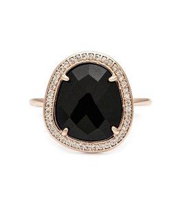 Melanie Auld Melanie Auld Stone Slice Ring-Rose Gold/Black Onyx