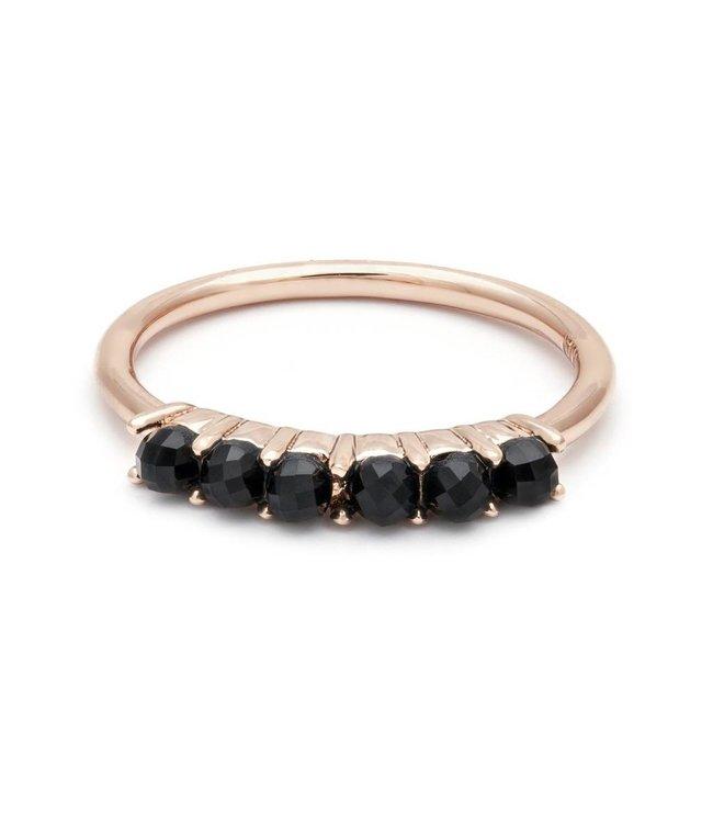 Melanie Auld Melanie Auld Stone Band Ring-Rose Gold/Black Onyx