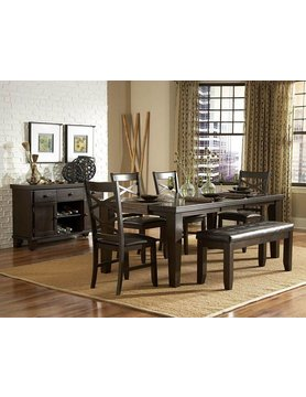 "Top Line Furniture HE 2438-82&S Top Line 7PC Dining Set 18"" Leaf  (1TB,6SC)"