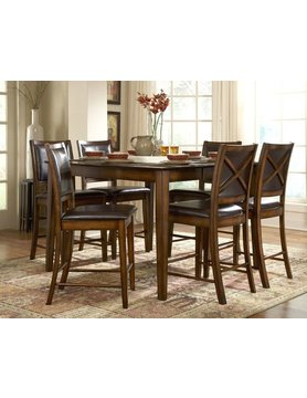 "Top Line Furniture HE 727-36&24 Top Line 7PC CNTR Dng Set 14""Leaf(1TB,6C)"