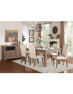 Top Line Furniture HE 5108-84&S Top Line 7PC Dining Set(TBL,6SC)