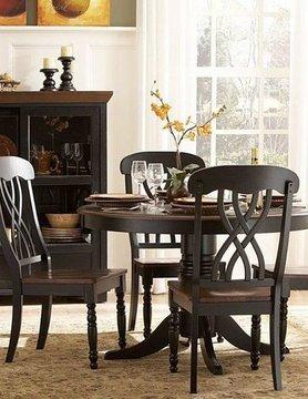 Top Line Furniture HE 1393BK-48&S Top Line BLACK 5PC Dining Set (1TB,4S)