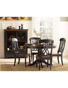 Top Line Furniture HE 1393BK-48&S Top Line BLACK 5PC Dining Set (1TB,4S)
