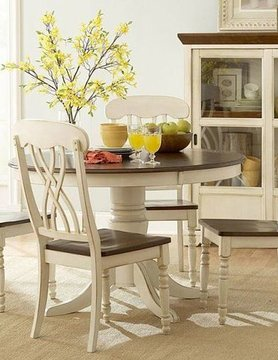 Top Line Furniture HE 1393W-48&S Top Line  WHITE 5PC Dining Set (1TB,4S)