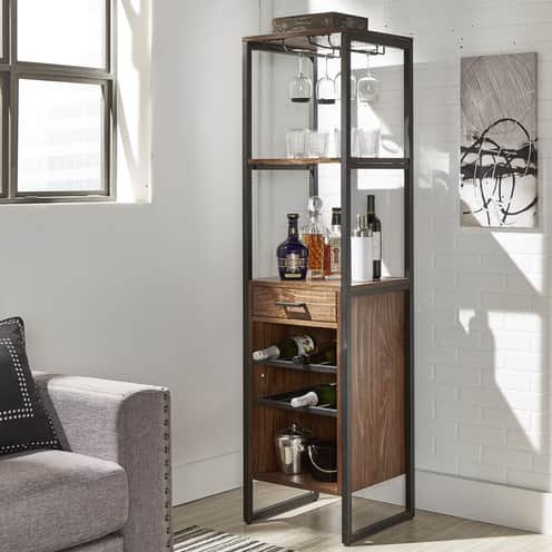 Top Line Furniture HE CLEARANCEE344K-19BRDISC Top Line Brown WIne Tower DISCONTINUED