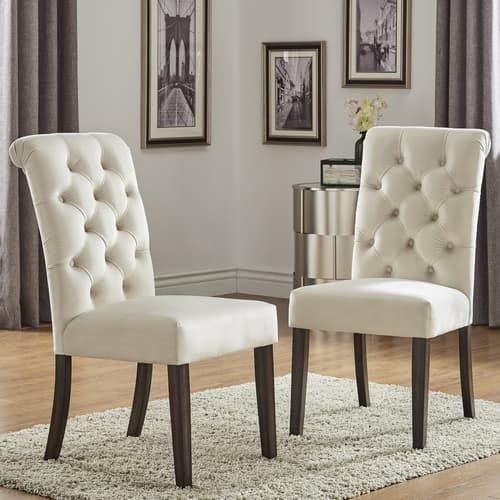 Top Line Furniture HE E206C-BLDISC Top Line Beige Linen Rolled Top Side Chair