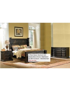 ART Furniture 244131&135&141-2615DISC ART Marbella Noir 3PC Set QB, Dresser, 1Night