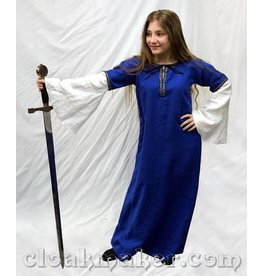 G977 - Navy Blue Linen Gown with Florentine Trim - Youth