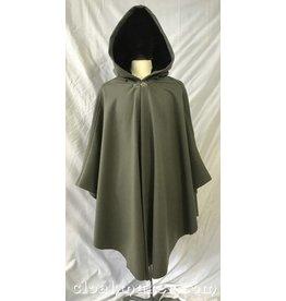 c53cc74cd8 3772 - Sage Green Wool Shaped Shoulder Ruana Cloak with Black Velvet Hood  Lining