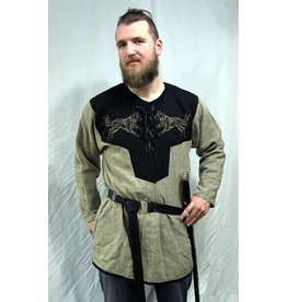 J585 - Brown Linen Viking Tunic with Wolf Embroidery - XXXL