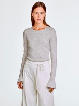 WHITE & WARREN FLUTED CUFF CREWNECK