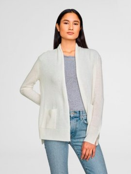 WHITE & WARREN PATCH POCKET CARDIGAN  IN PEARL WHITE