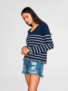WHITE & WARREN STRIPED FRINGE SWEATER
