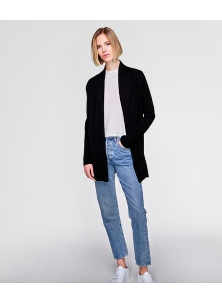 WHITE + WARREN HIGH RIB CARDIGAN BLACK
