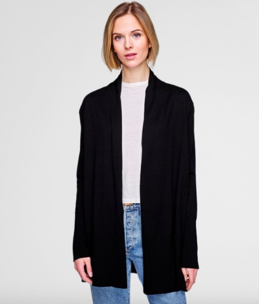 WHITE & WARREN HIGH RIB CARDIGAN BLACK