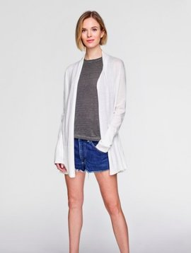 WHITE & WARREN HIGH RIB CARDIGAN WHITE