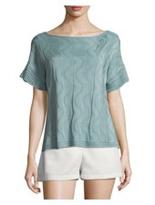 M MISSONI SOLID KNIT TOP IN SEA