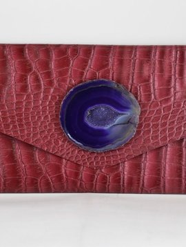 KRAVA RED EMBOSSED WITH PURPLE STONE