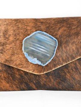KRAVA CAMEL HAIRCALF WITH BLUE STONE CLUTCH