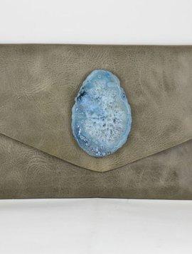 KRAVA SOFT GREY LEATHER WITH BLUE STONE CLUTCH