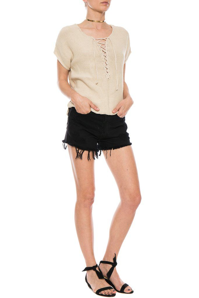 RAQUEL ALLEGRA LACE UP TOP