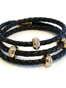 LIZA SCHWARTZ KARMA GOLD TRIPLE WRAP BRACELET IN BLACK