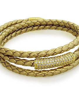 LIZA SCHWARTZ SOBE BAR TRIPLE WRAP BRACELET IN METALLIC GOLD