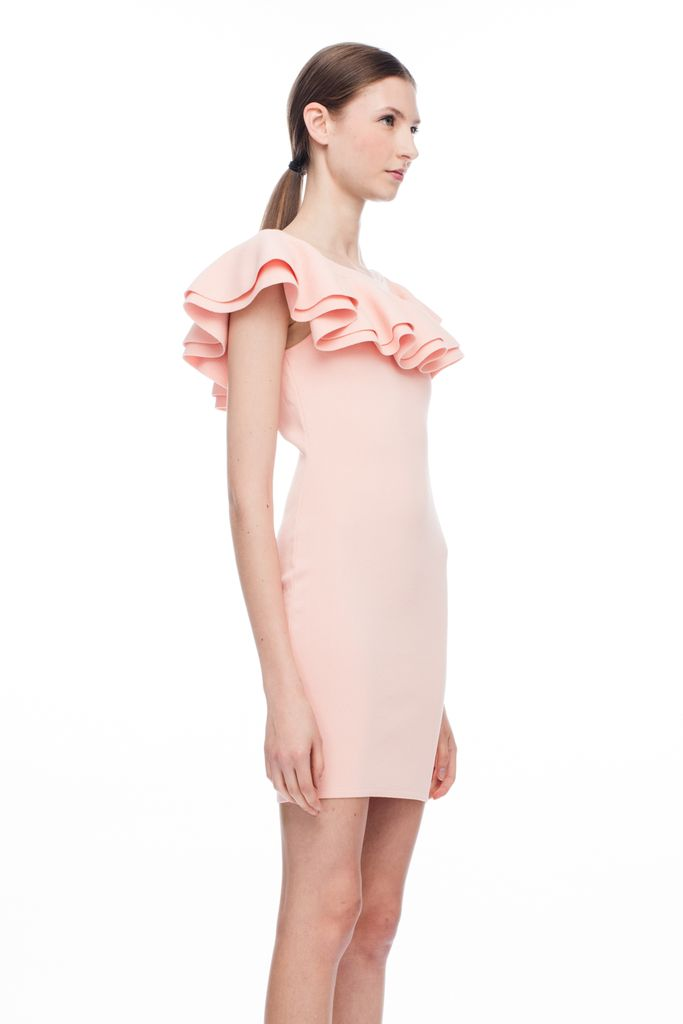 JOHN + JENN HARRIET RUFFLE SHOULDER DRESS