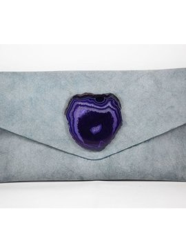 KRAVA BLUE SOFT LEATHER WITH PURPLE STONE CLUTCH