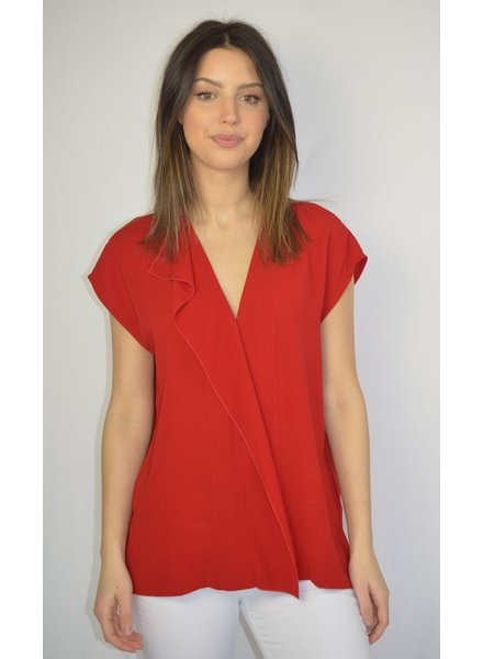 MALENE BIRGER RED VNECK TOP WITH RUFFLE