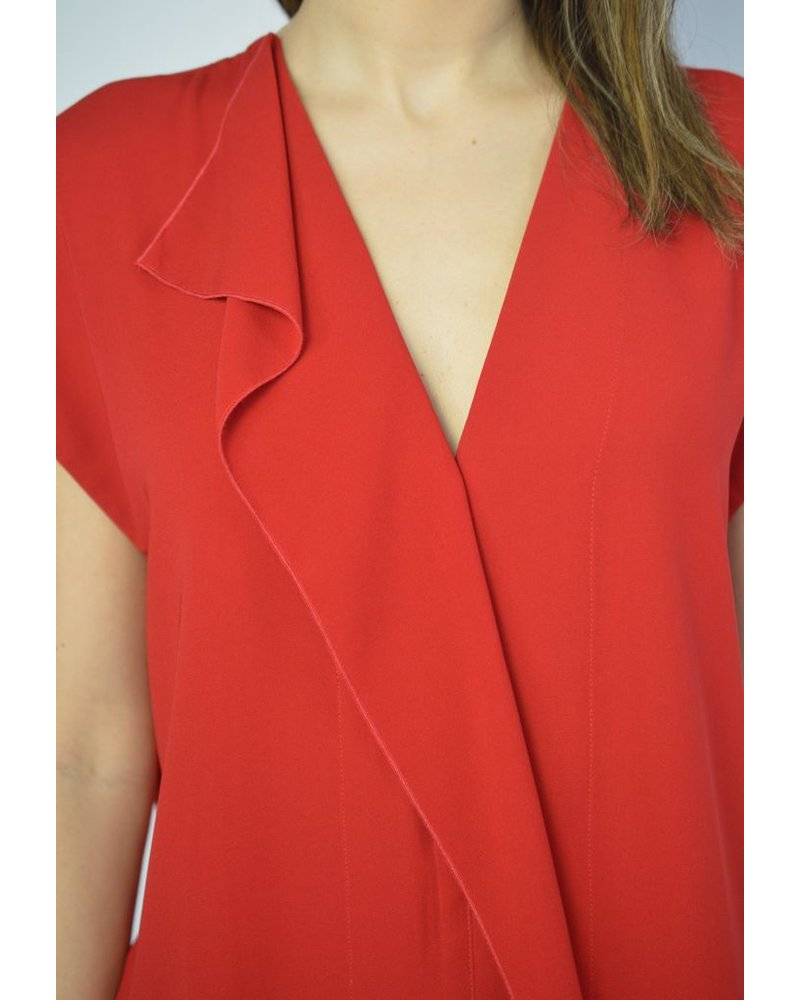 BY MALENE BIRGER RED VNECK TOP WITH RUFFLE