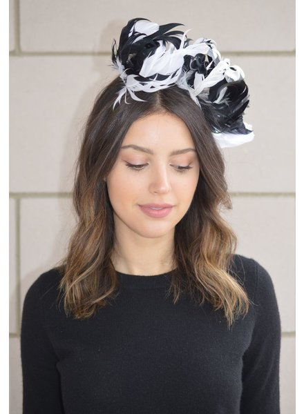 FORME MILLINERY CO BLACK FEATHER FASCINATOR