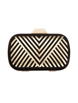 "LILI RADU SHELL CLUTCH ""V PLUS"" BLACK BLACK/GOLD METALLIC"