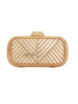 "LILI RADU SHELL CLUTCH ""V PLUS"" GOLD GLITTER"
