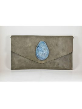 KRAVA SOFT GREY LEATHER WITH BLUE STONE CLUTCH
