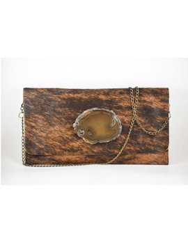 KRAVA CAMEL HAIRCALF WITH TEXTURE STONE CLUTCH