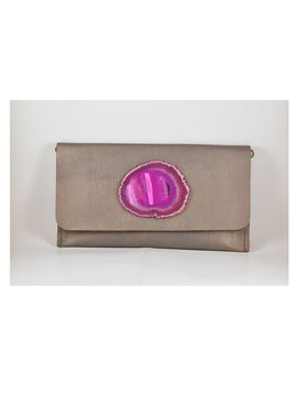 KRAVA GOLD LEATHER WITH PINK STONE CLUTCH