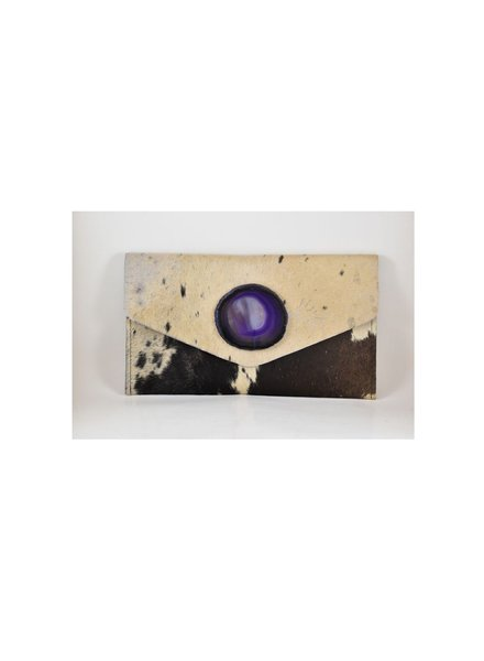 KRAVA IVORY HAIRCALF WITH PURPLE STONE