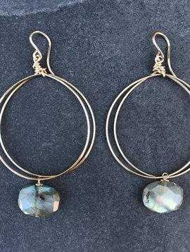 CINDY BORDERS CIRCLE EARRINGS WITH LABRADORITE