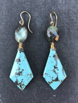LINKED GEMSTONE EARRINGS WITH TURQUOISE & LABRADORITE